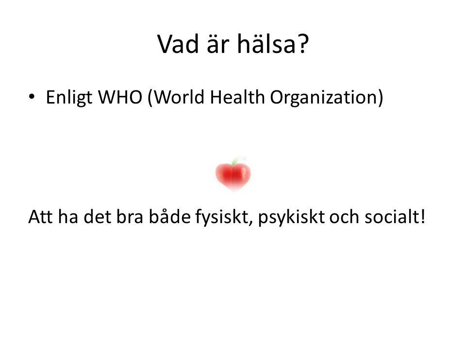 Vad är hälsa Enligt WHO (World Health Organization)
