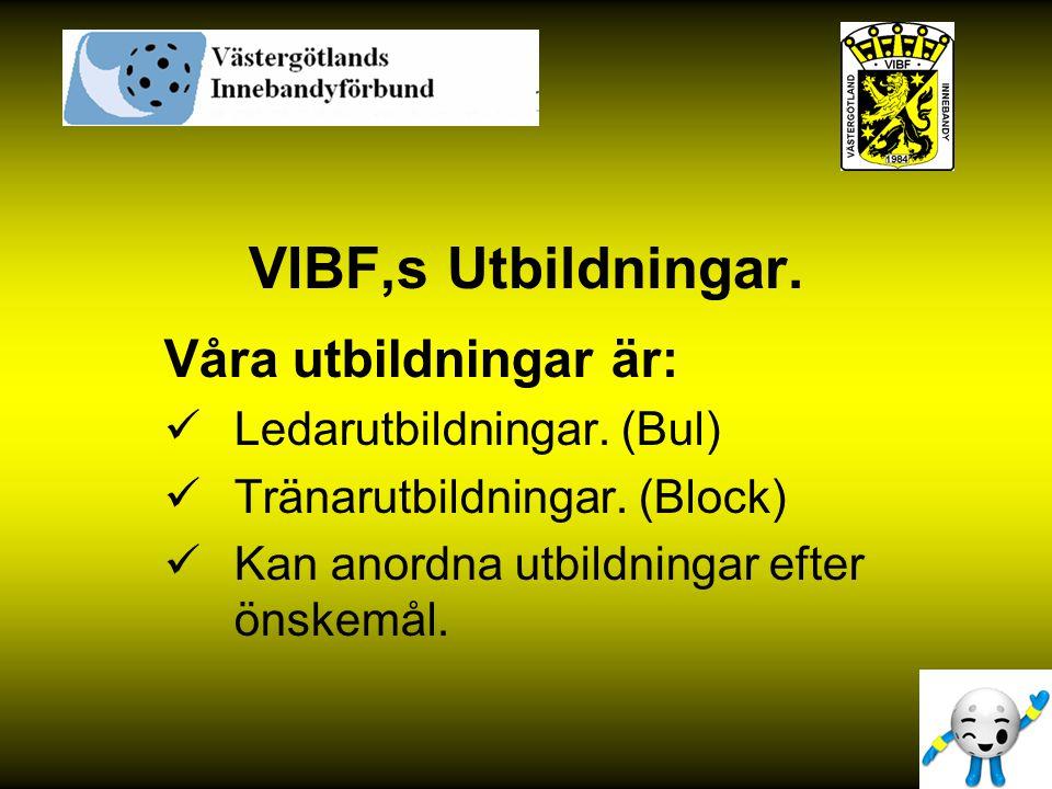 VIBF,s Utbildningar. Våra utbildningar är: Ledarutbildningar. (Bul)