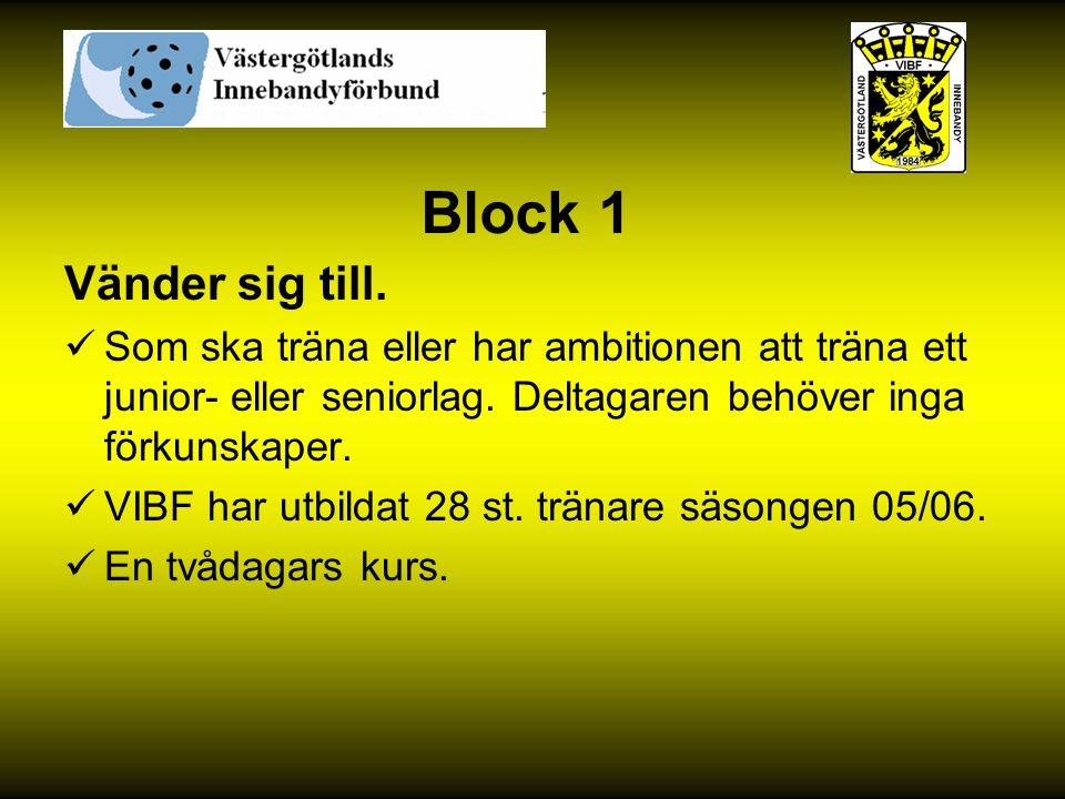 Block 1 Vänder sig till. Som ska träna eller har ambitionen att träna ett junior- eller seniorlag. Deltagaren behöver inga förkunskaper.