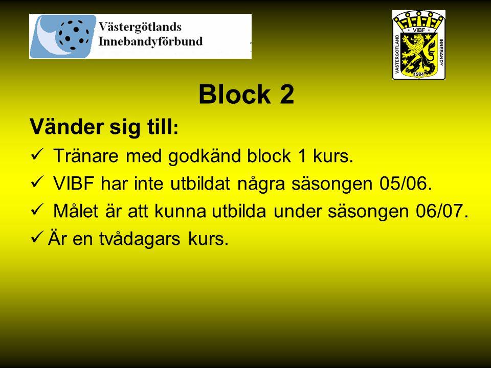 Block 2 Vänder sig till: Tränare med godkänd block 1 kurs.