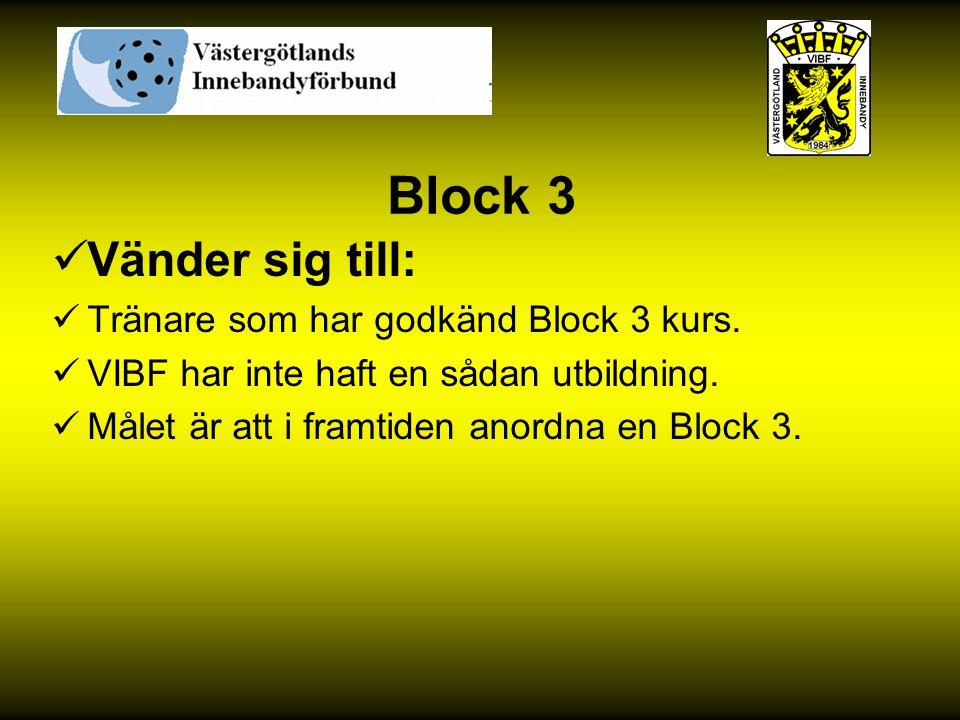 Block 3 Vänder sig till: Tränare som har godkänd Block 3 kurs.