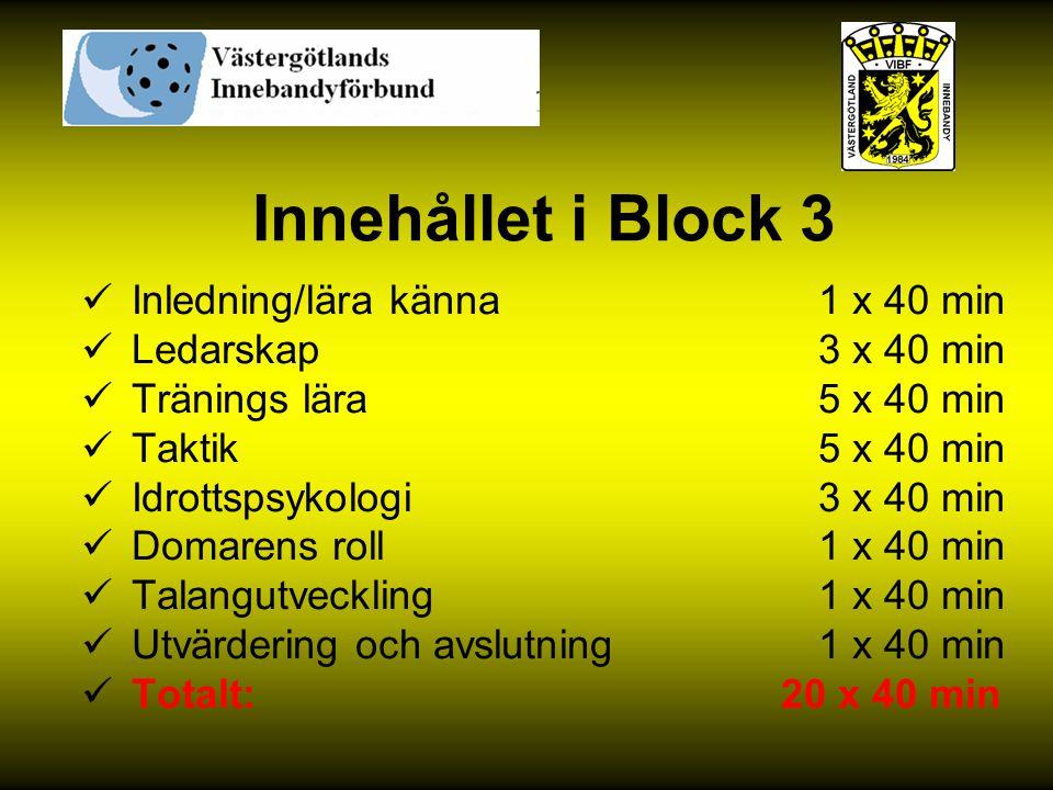 Innehållet i Block 3 Inledning/lära känna 1 x 40 min