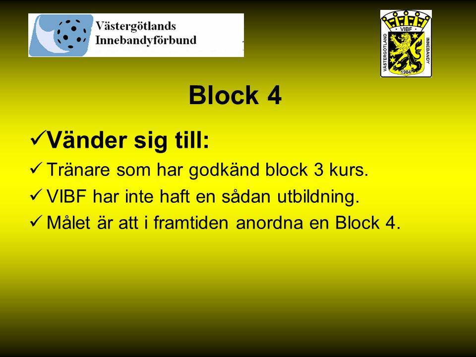 Block 4 Vänder sig till: Tränare som har godkänd block 3 kurs.