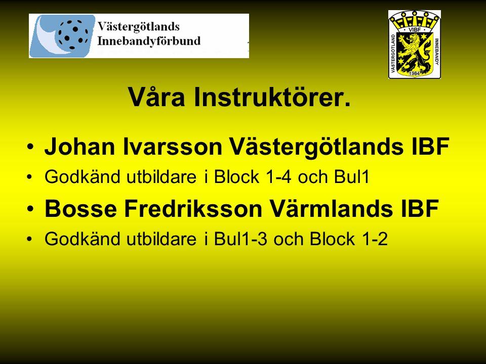 Våra Instruktörer. Johan Ivarsson Västergötlands IBF