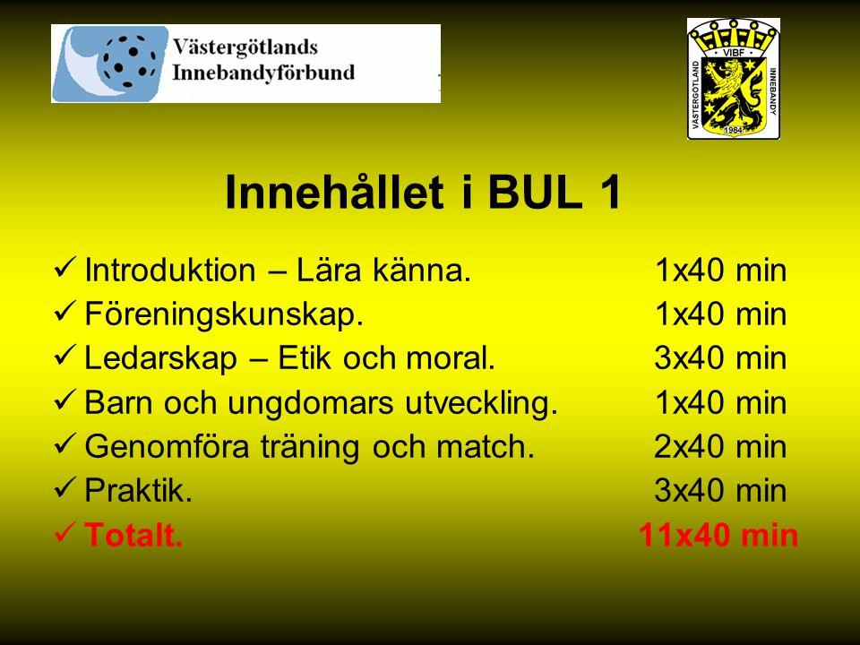 Innehållet i BUL 1 Introduktion – Lära känna. 1x40 min