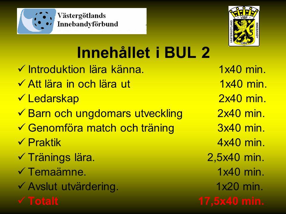 Innehållet i BUL 2 Introduktion lära känna. 1x40 min.