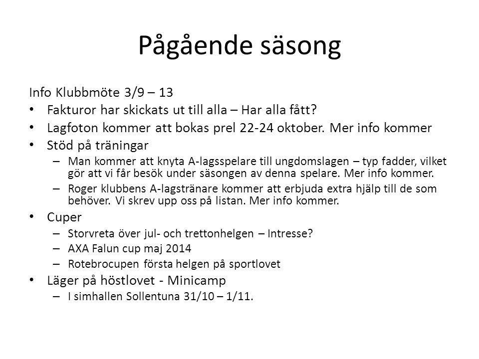 Pågående säsong Info Klubbmöte 3/9 – 13