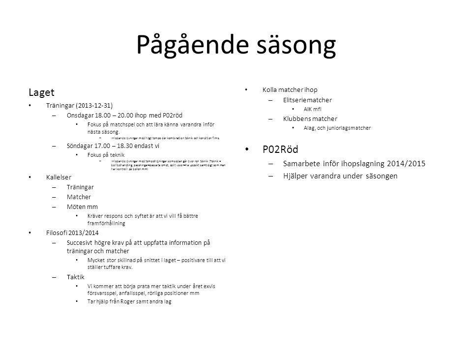 Pågående säsong Laget P02Röd Samarbete inför ihopslagning 2014/2015