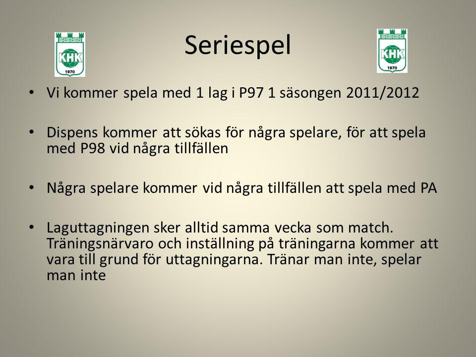 Seriespel Vi kommer spela med 1 lag i P97 1 säsongen 2011/2012