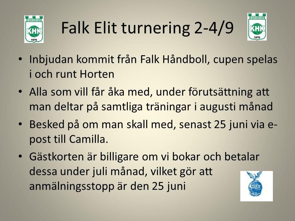 Falk Elit turnering 2-4/9 Inbjudan kommit från Falk Håndboll, cupen spelas i och runt Horten.
