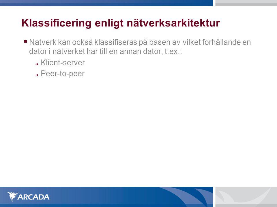 Klassificering enligt nätverksarkitektur