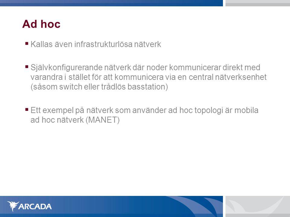 Ad hoc Kallas även infrastrukturlösa nätverk