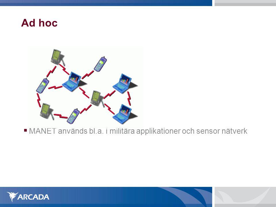 Ad hoc MANET används bl.a. i militära applikationer och sensor nätverk
