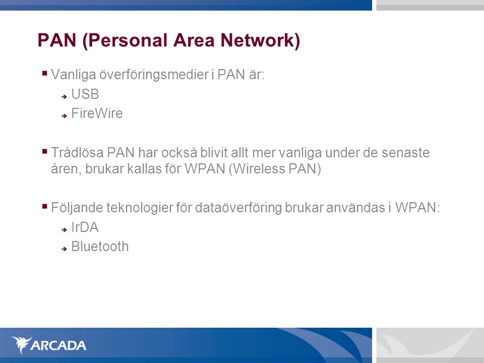 PAN (Personal Area Network)‏