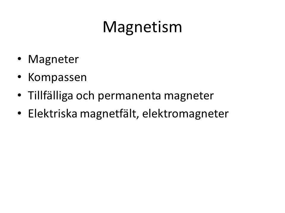 Magnetism Magneter Kompassen Tillfälliga och permanenta magneter