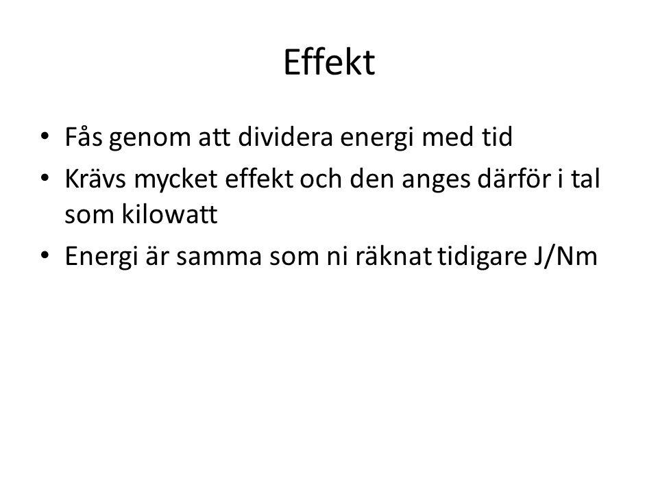 Effekt Fås genom att dividera energi med tid