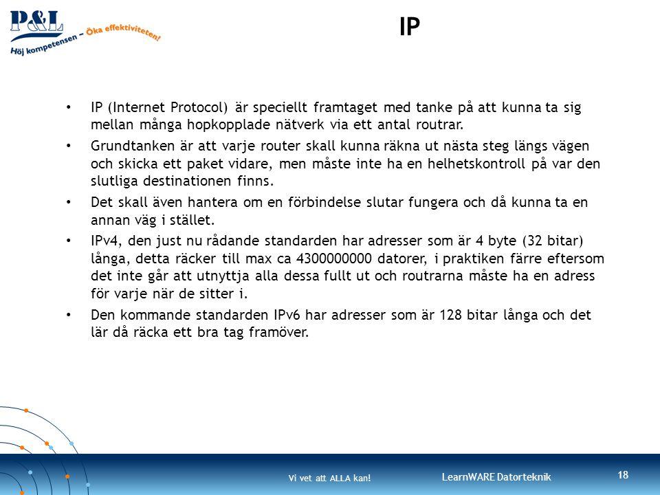 IP IP (Internet Protocol) är speciellt framtaget med tanke på att kunna ta sig mellan många hopkopplade nätverk via ett antal routrar.
