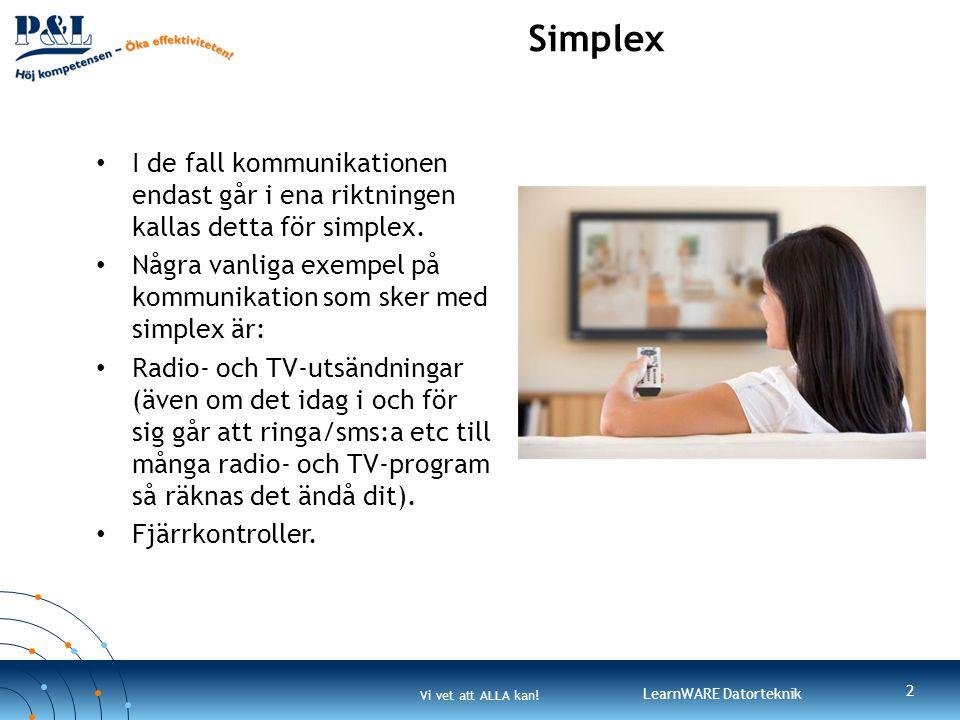 Simplex I de fall kommunikationen endast går i ena riktningen kallas detta för simplex.
