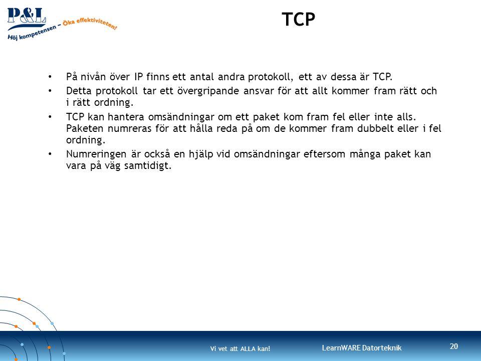 TCP På nivån över IP finns ett antal andra protokoll, ett av dessa är TCP.