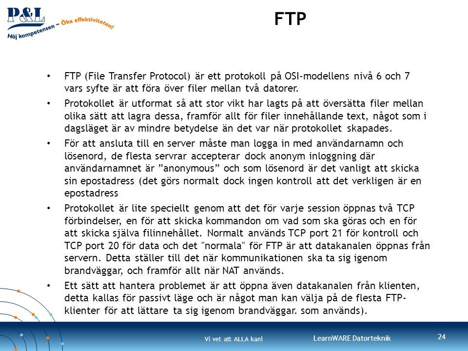 FTP FTP (File Transfer Protocol) är ett protokoll på OSI-modellens nivå 6 och 7 vars syfte är att föra över filer mellan två datorer.