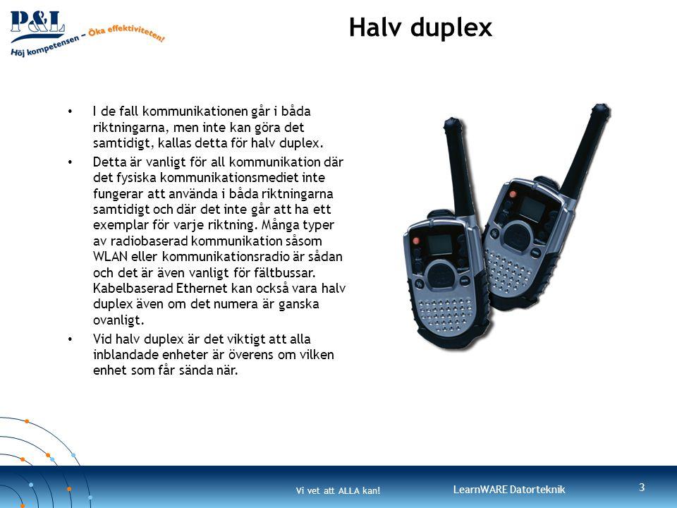 Halv duplex I de fall kommunikationen går i båda riktningarna, men inte kan göra det samtidigt, kallas detta för halv duplex.