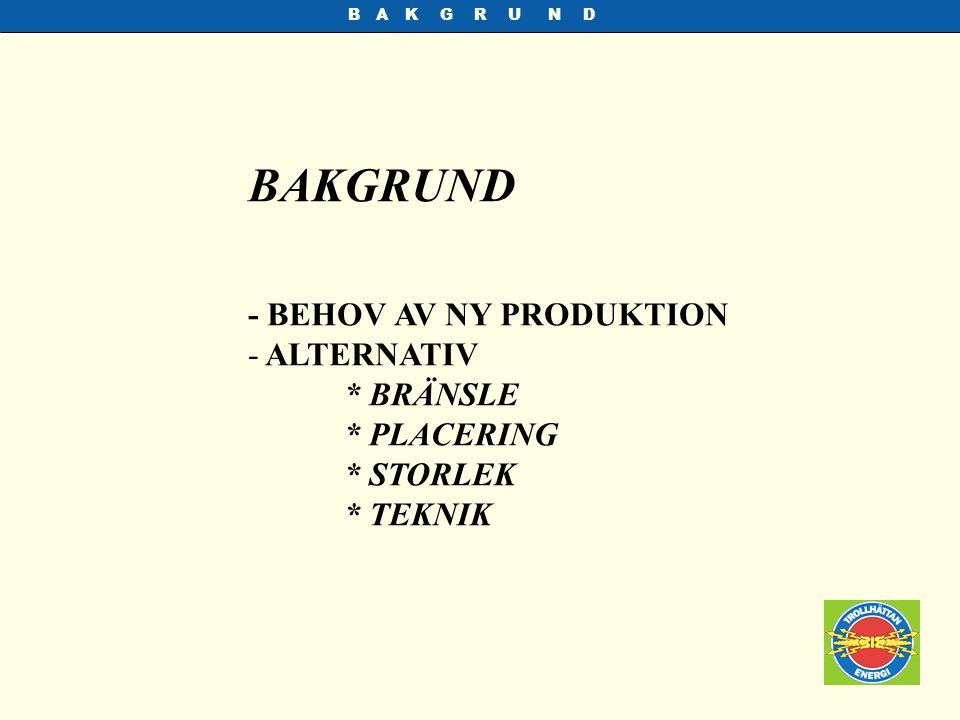 BAKGRUND - BEHOV AV NY PRODUKTION ALTERNATIV * BRÄNSLE * PLACERING