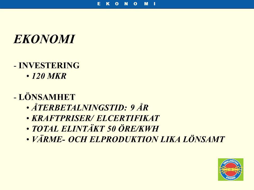 EKONOMI INVESTERING 120 MKR LÖNSAMHET ÅTERBETALNINGSTID: 9 ÅR