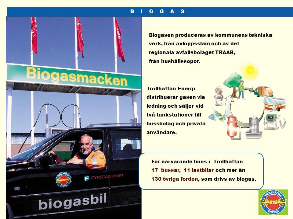 B I O G A S Biogasen produceras av kommunens tekniska verk, från avloppsslam och av det.