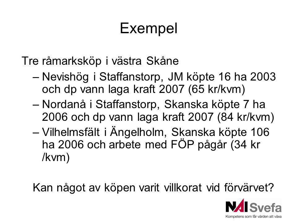Exempel Tre råmarksköp i västra Skåne