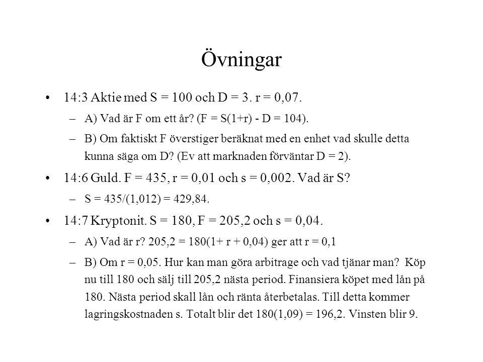 Övningar 14:3 Aktie med S = 100 och D = 3. r = 0,07.