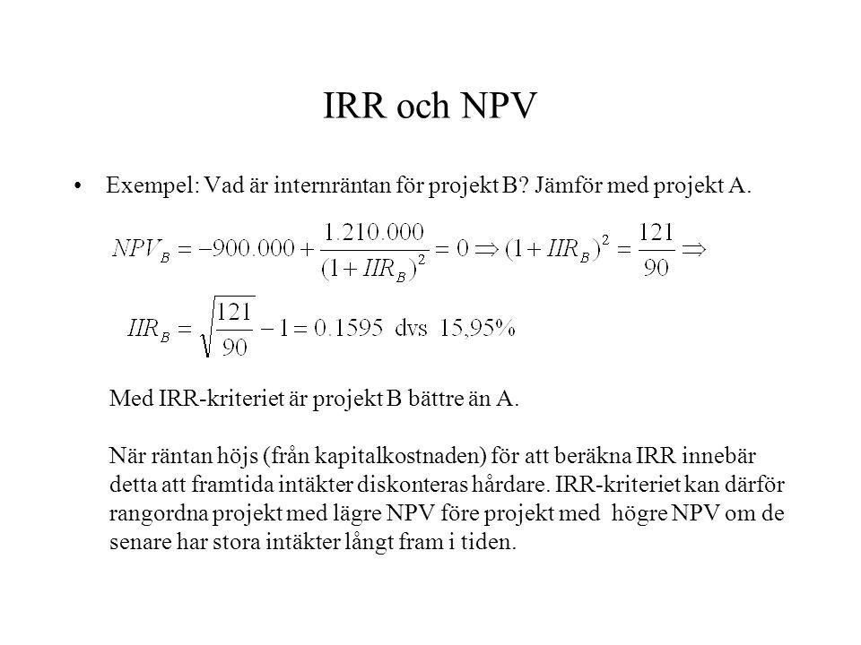 IRR och NPV Exempel: Vad är internräntan för projekt B Jämför med projekt A. Med IRR-kriteriet är projekt B bättre än A.