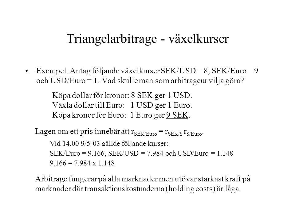 Triangelarbitrage - växelkurser