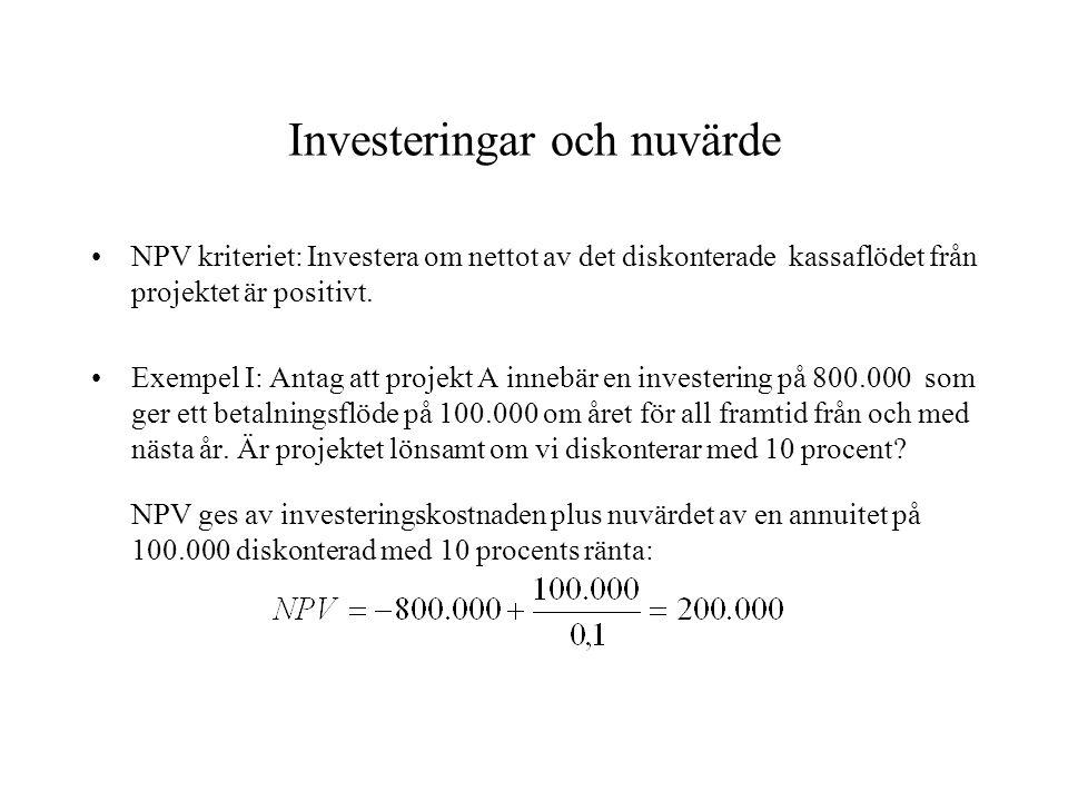 Investeringar och nuvärde