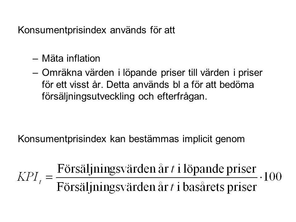 Konsumentprisindex används för att
