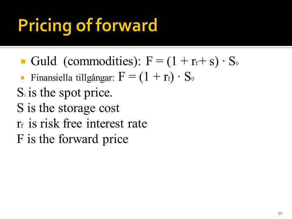 Pricing of forward Guld (commodities): F = (1 + rf + s) · S0