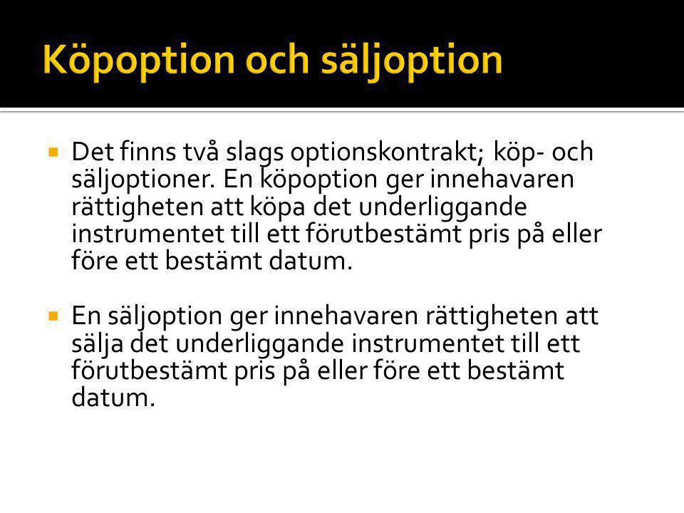Köpoption och säljoption