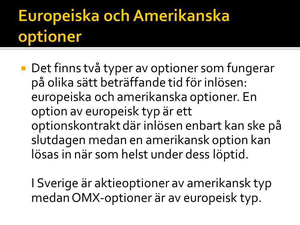 Europeiska och Amerikanska optioner