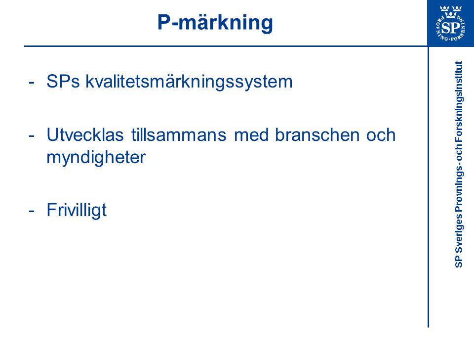 P-märkning SPs kvalitetsmärkningssystem