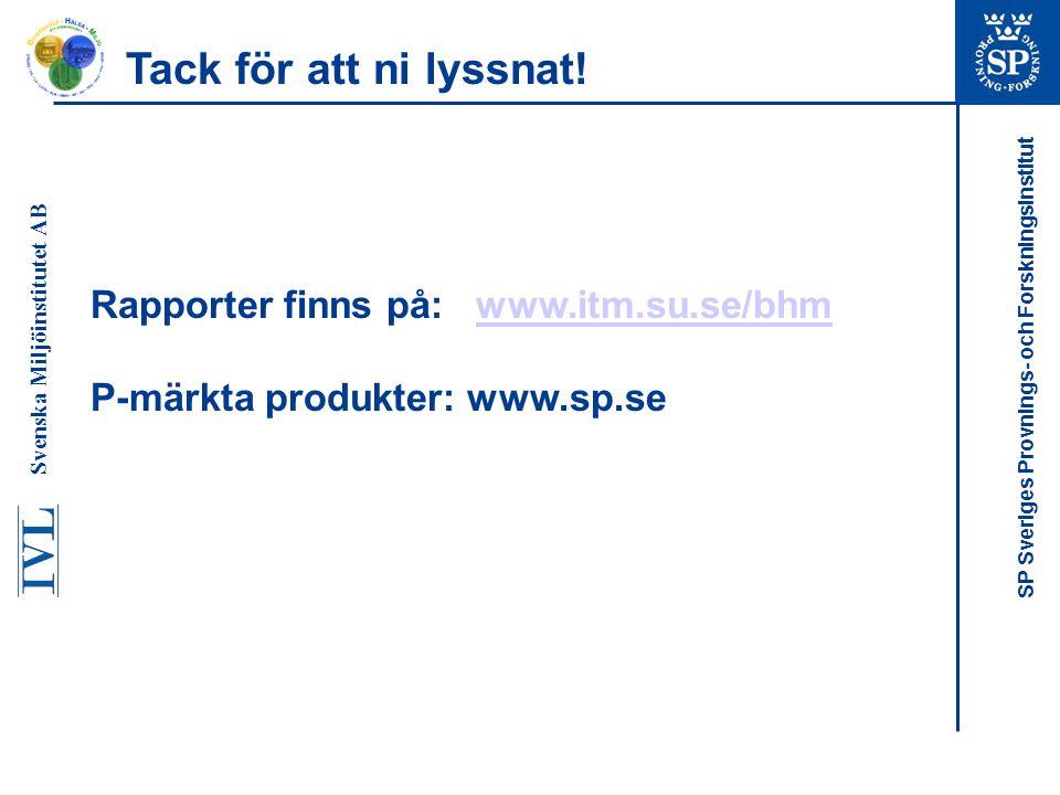 Tack för att ni lyssnat! Rapporter finns på: www.itm.su.se/bhm