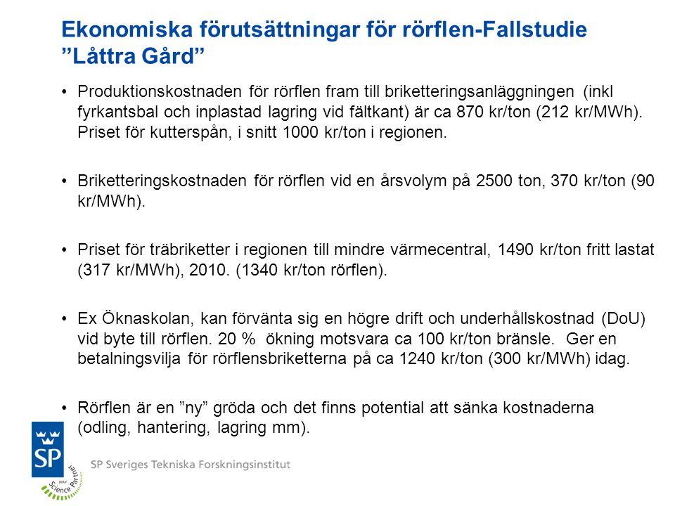 Ekonomiska förutsättningar för rörflen-Fallstudie Låttra Gård