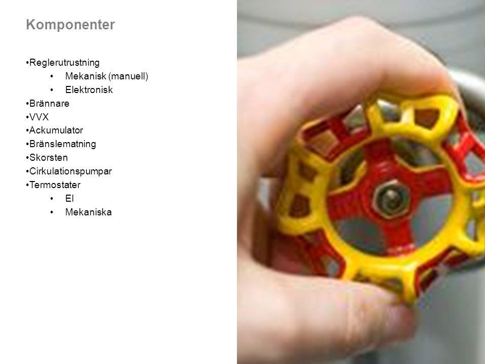 Komponenter Reglerutrustning Mekanisk (manuell) Elektronisk Brännare