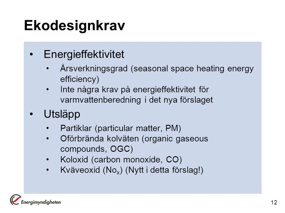 Ekodesignkrav Energieffektivitet Utsläpp