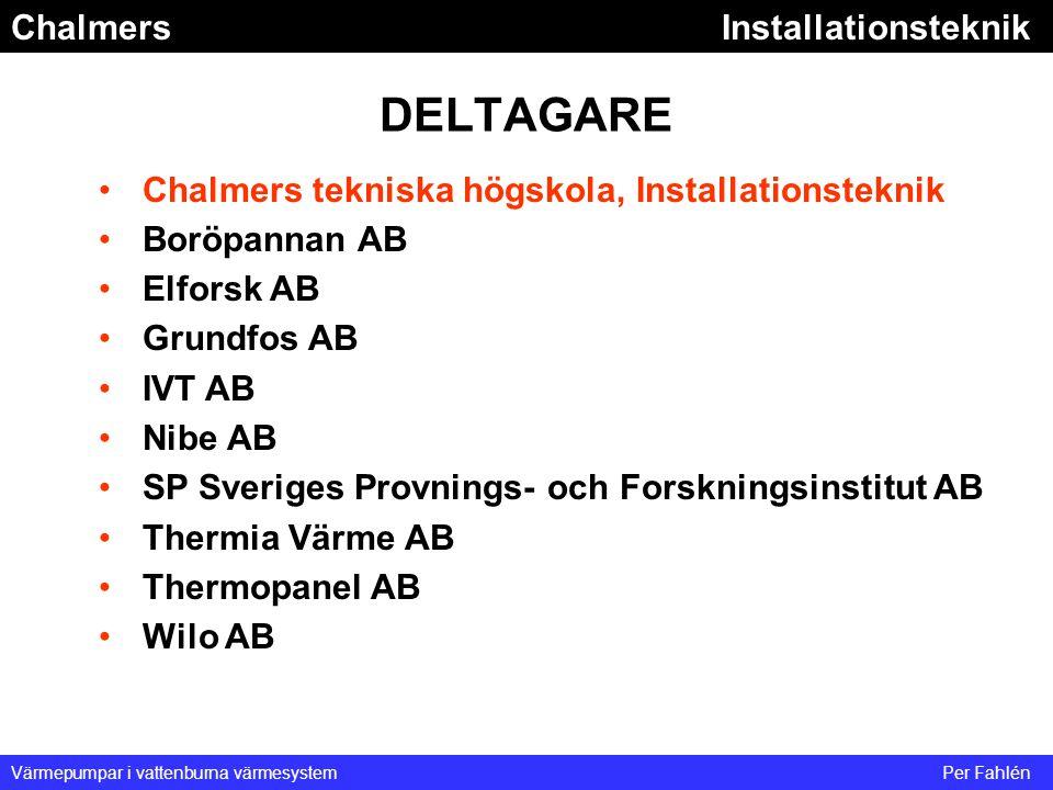 DELTAGARE Chalmers tekniska högskola, Installationsteknik