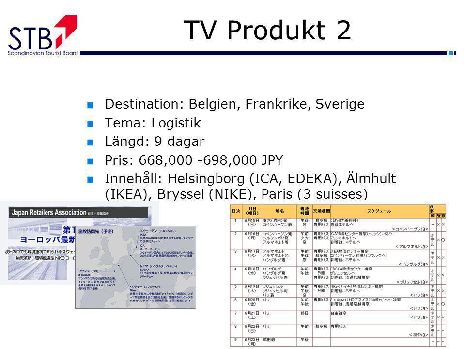 TV Produkt 2 Destination: Belgien, Frankrike, Sverige Tema: Logistik