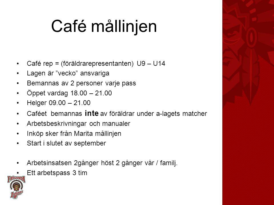 Café mållinjen Café rep = (föräldrarepresentanten) U9 – U14