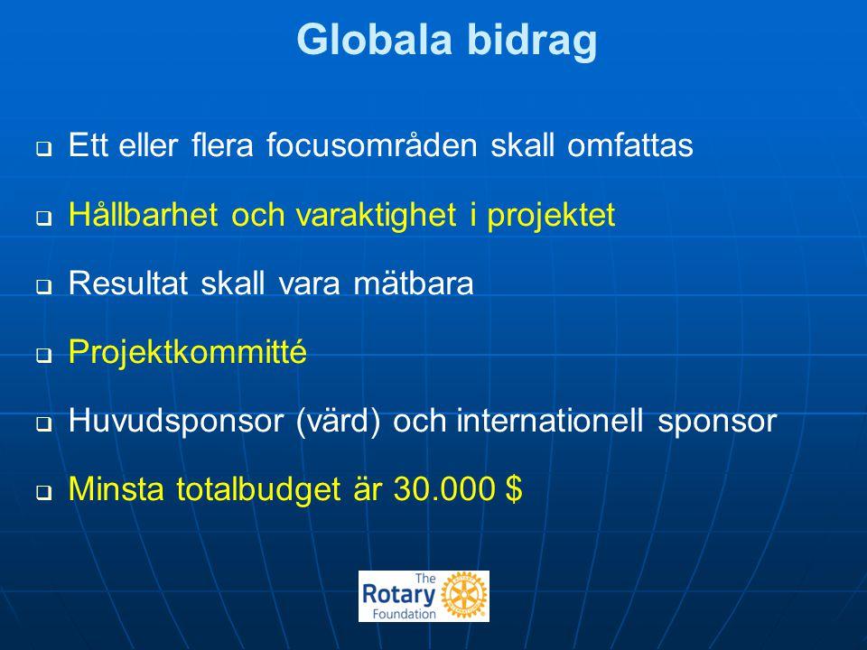 Globala bidrag Ett eller flera focusområden skall omfattas
