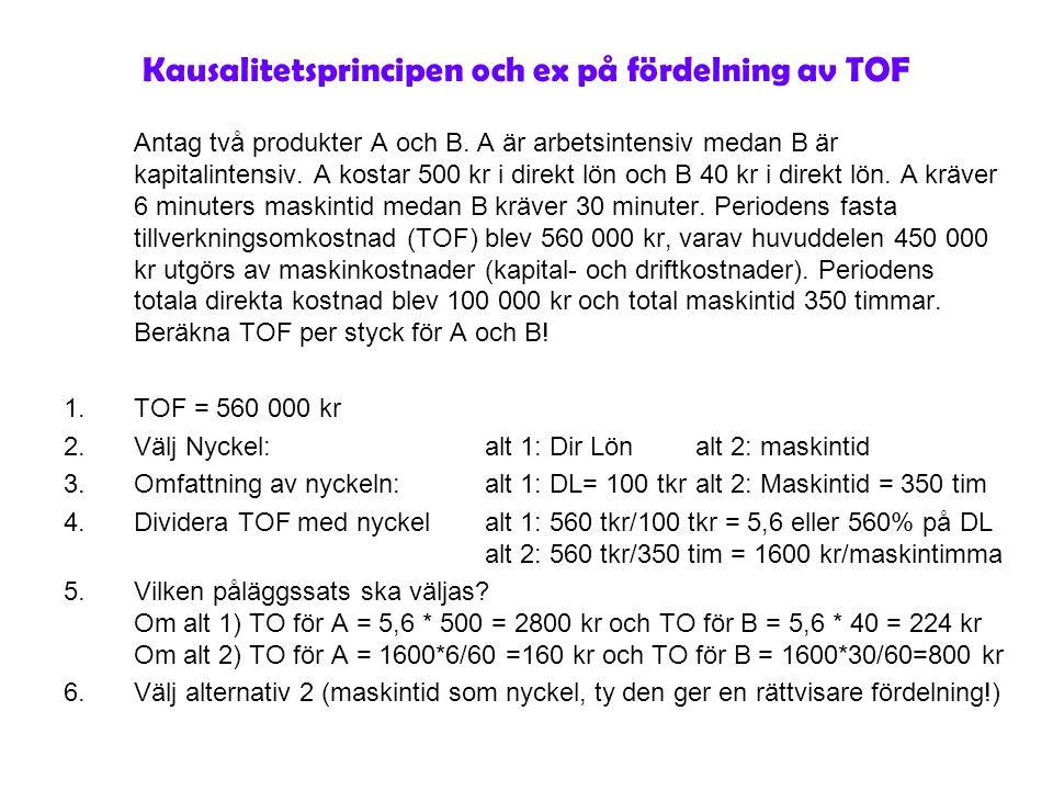 Kausalitetsprincipen och ex på fördelning av TOF