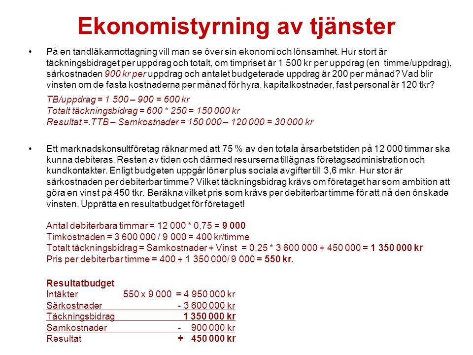 Ekonomistyrning av tjänster