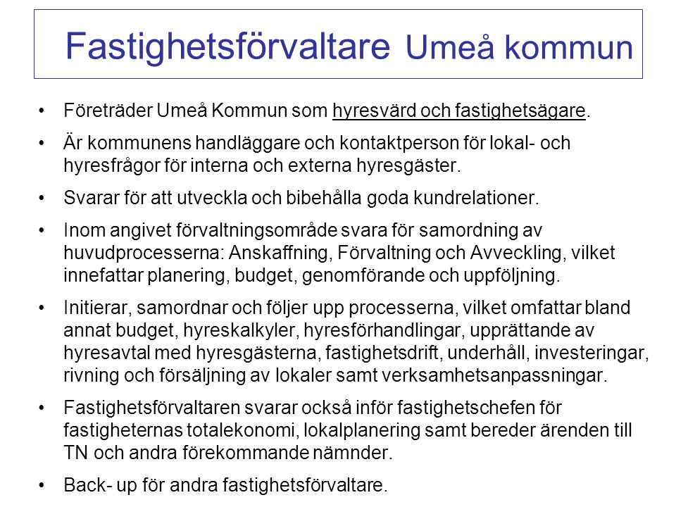 Fastighetsförvaltare Umeå kommun