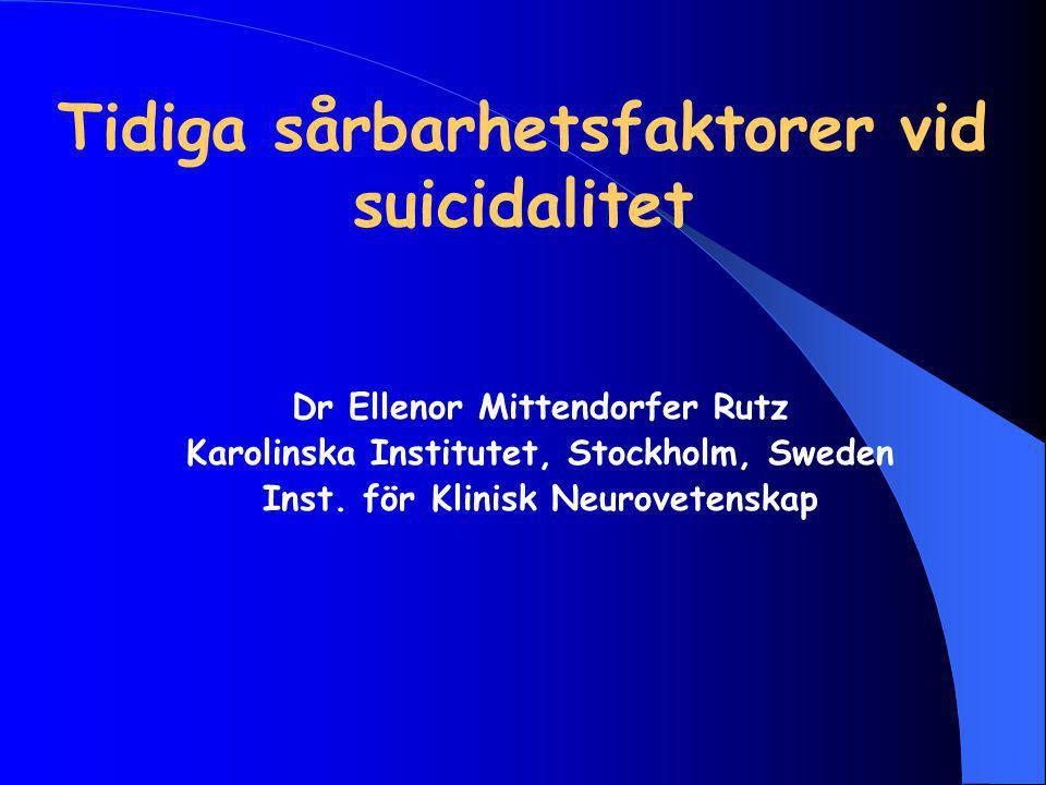 Tidiga sårbarhetsfaktorer vid suicidalitet